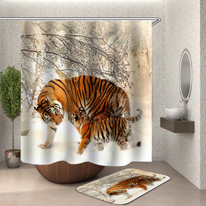 Tiger Mom and Baby Shower Curtain