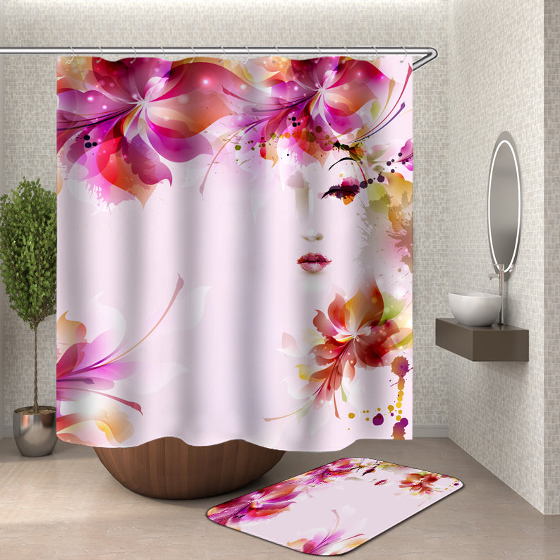 Pink Flower Girl Shower Curtain