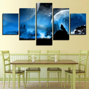 Full Moon Night Forest Wolf - 5 Piece Canvas Wall Art