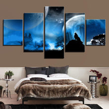 Load image into Gallery viewer, Full Moon Night Forest Wolf - 5 Piece Canvas Wall Art
