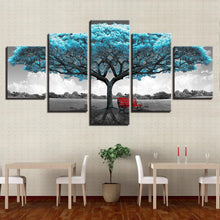 Load image into Gallery viewer, Blue Big Tree Red Chair Scenery - 5 Piece Canvas Wall Art