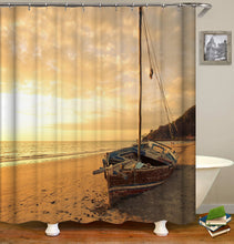 Load image into Gallery viewer, Sunset Sea Beach Shower Curtain