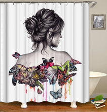 Load image into Gallery viewer, Flower Butterfly Girl Shower Curtain