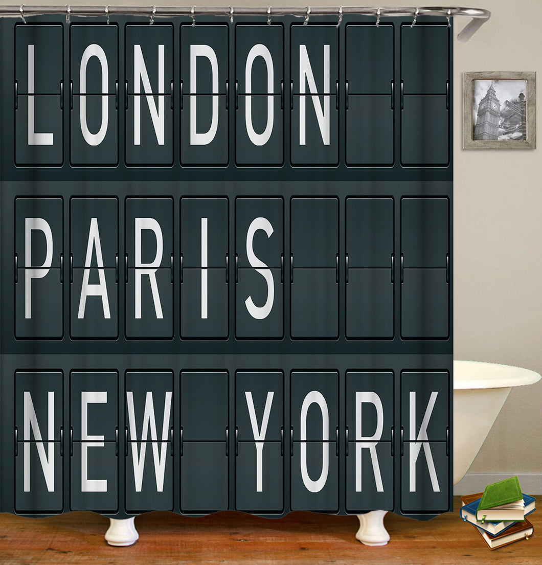 London Paris New York Shower Curtain