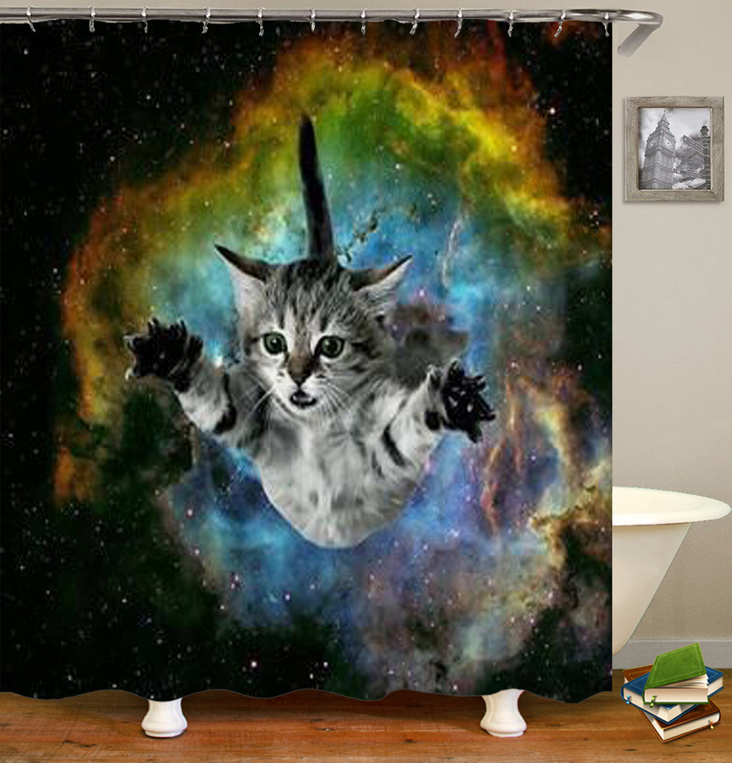 Cat From Universe Shower Curtain