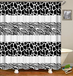 Giraffe and Zebra Pattern Shower Curtain