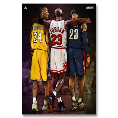 Michael Jordan Kobe Bryant Lebron James Basketball NBA Stars - 1 Piece Canvas Wall Art