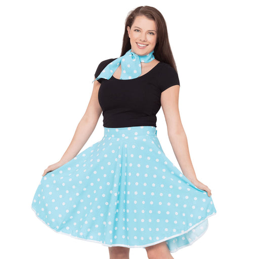 50's Rock n Roll Skirt & Scarf (Blue)