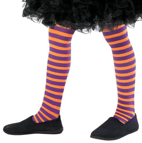 Kids Wicked Witch Tights (Orange & Purple)