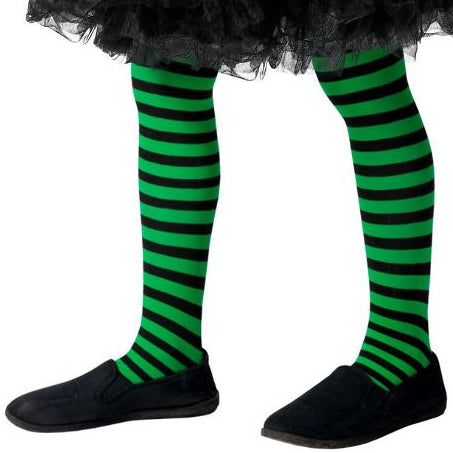 Kids Wicked Witch Tights (Green & Black)