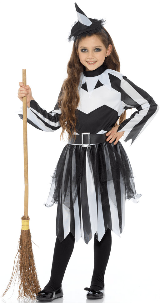 Kids Black & White Witch Costume