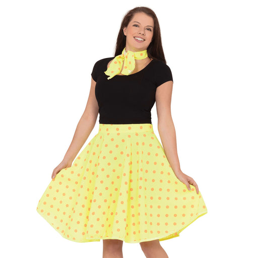 50's Rock n Roll Skirt & Scarf (Yellow)