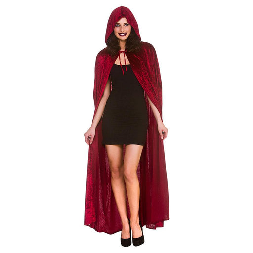 Deluxe Velvet Hooded Cape (Red)