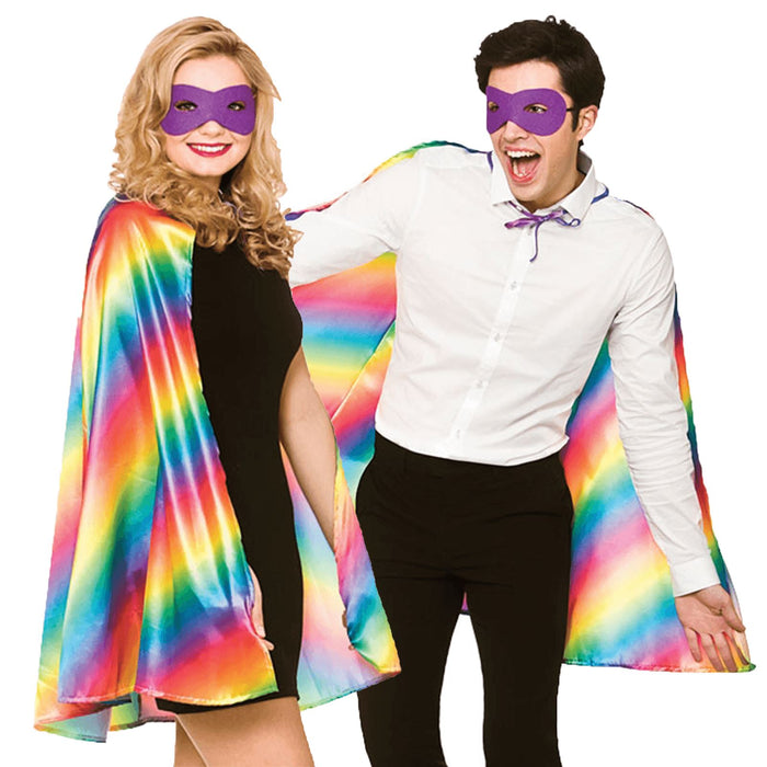 Superhero Cape & Eye Mask (Rainbow)