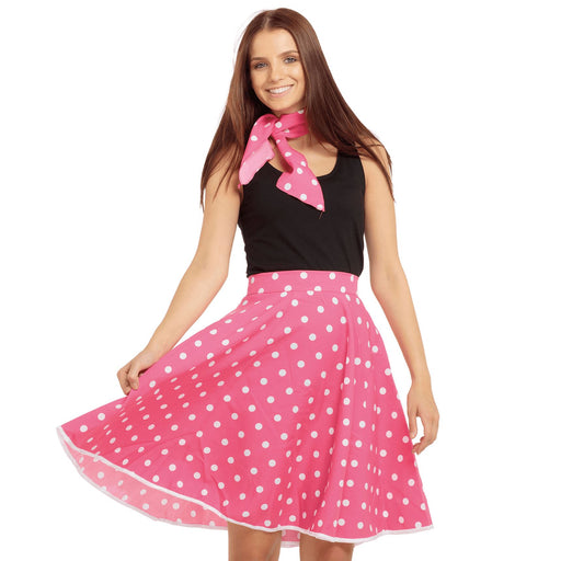 50's Rock n Roll Skirt & Scarf (Pink)