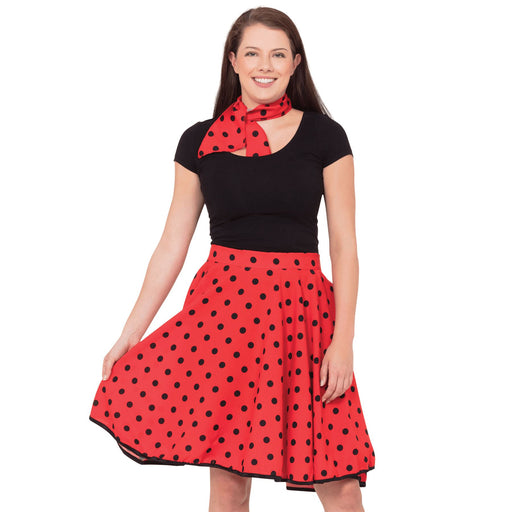50's Rock n Roll Skirt & Scarf (Red)