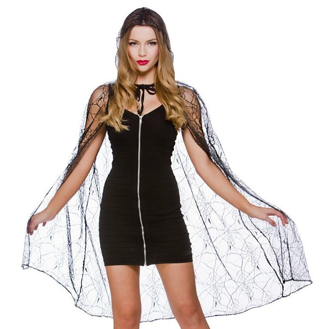 Deluxe Hooded Spiderweb Cape
