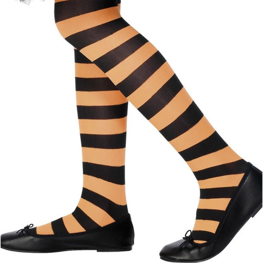 Kids Striped Tights (Orange)