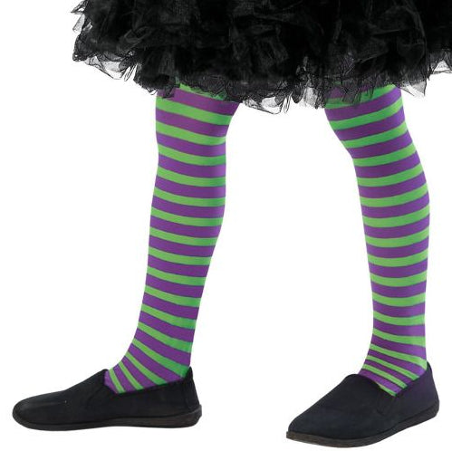 Kids Wicked Witch Tights (Purple & Green)