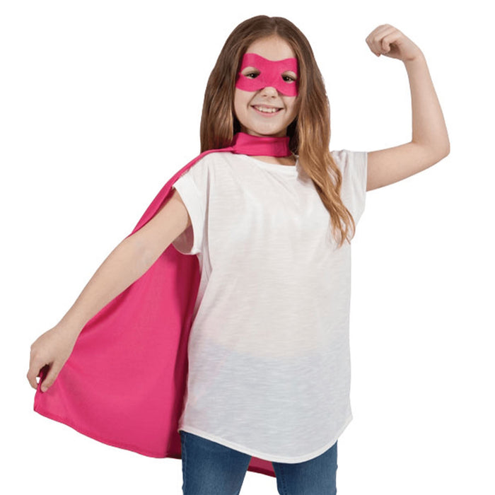 Kids Superhero Cape & Eye Mask (Pink)
