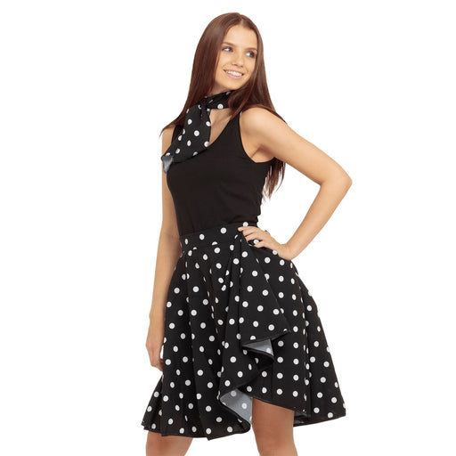 50's Rock n Roll Skirt & Scarf (Black)