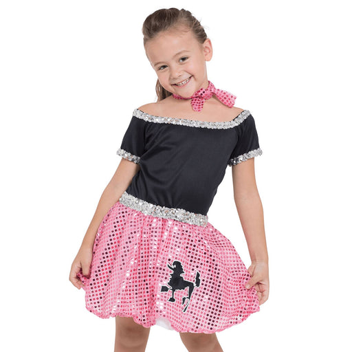 Kids Sequin Rock N Roll Costume (Pink)
