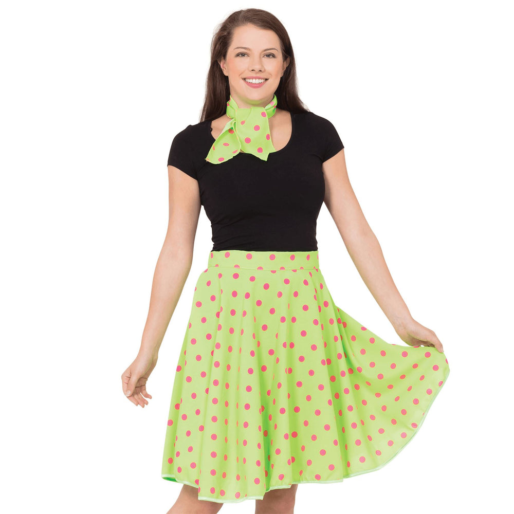 50's Rock n Roll Skirt & Scarf (Green)