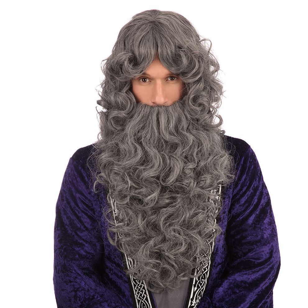 Wavy Wizard Wig & Beard (Grey)