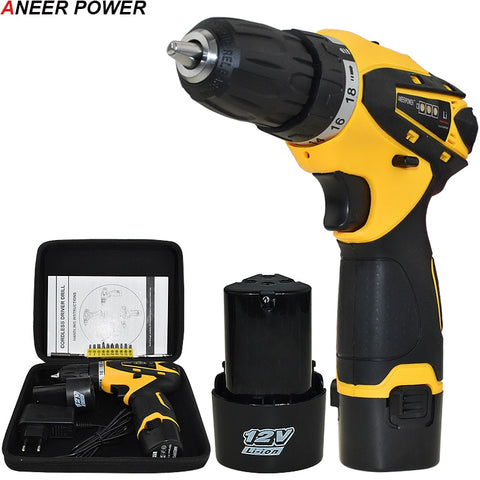 1.5Ah Battery Capacity Drill 12v Mini Cordless Drill Power Tools Electric Screwdriver Electric Drill Batteries Screwdriver