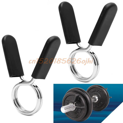 1 Pair 25/28/30 mm  Barbell Clamp Spring Collar Clips Gym Weight Dumbbell Lock Standard Lifting Kit #H030# - BuyShipSave