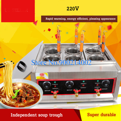 220V 6 Holes Noodles Cooker Machine Multifunctional Snack Equipment Cooking Tool Household/Restaurant Kitchen Pasta Cooker