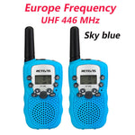 2pcs Mini Walkie Talkie Kids Radio Station Retevis RT388 0.5W PMR PMR446 FRS UHF Portable radio Communicator Gift A7027