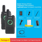 2pcs RETEVIS RT618/RT18 PMR Radio Mini Walkie Talkie PMR446 FRS Dual PTT VOX Two-Way Radio Handheld Transceiver Walkie-Talkie