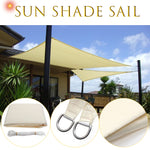 3.5x3.5m Square Sun Shade Sail Canopy Patio Garden Awning UV Block Top Shelter Beige Outdoor Waterproof Car Cover Garden - BuyShipSave