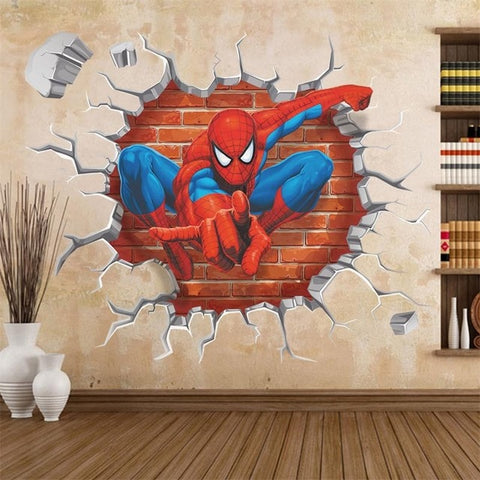 45*50cm hot 3d hole famous cartoon movie spiderman wall stickers for kids rooms boys gifts through wall decals home decor mural - BuyShipSave