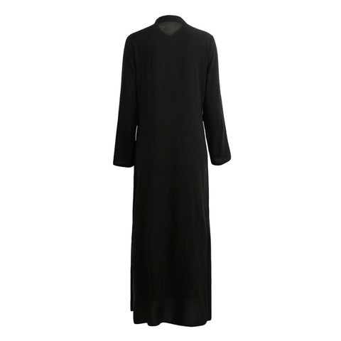 5XL Plus Size Vestidos 2018 Autumn Fashion Women Sexy Casual Long Shirt Dress Long Sleeve Deep V Neck Split Solid Maxi Dress