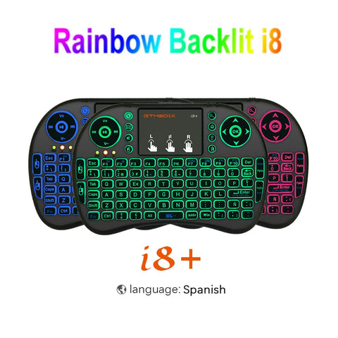 7 color backlit i8 Mini Wireless Keyboard 2.4ghz English Spanish 3 colour Air Mouse with Touchpad Remote Control Android TV Box - BuyShipSave