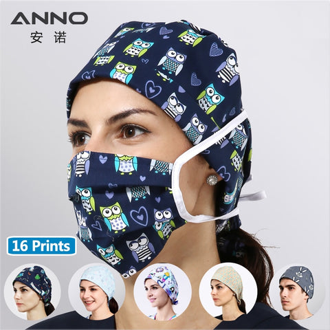 ANNO Disposable Cotton Surgical Caps Women Man Medical caps Surgical Surgeon's Surgery Hat Hospital Nurse Women Work Hat - BuyShipSave