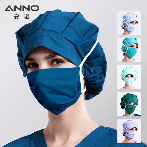 ANNO Plain Colour Bouffant Surgical Cap with Mask Cotton Nurse Hats Women Disposable Pharmacy Hospital Medical Caps Head Wear - BuyShipSave