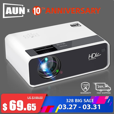 AUN HD Projector D60 | 1280x720 Resolution MINI LED Video 3D Projector for Full HD Home Cinema.HDMI (Optional Android WIFI D60S) - BuyShipSave