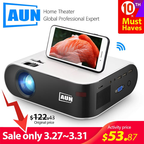 AUN MINI Projector W18C, 2800 Lumens, 854*480P, Wireless Sync Display For Phone, LED Portable Home Cinema for 1080P Video Beamer - BuyShipSave