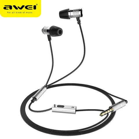 AWEI ES-660I In-Ear Wired Earphone Metal Headset HIFI fone de ouvido Audifonos Casque Heavy Bass Earbuds Headset With Mic - BuyShipSave