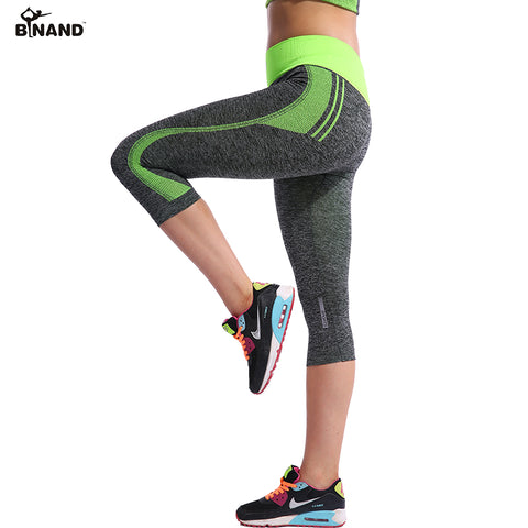 BINAND Women High Elastic Capri Tights Running 3/4 Length Fitness Yoga Pants Gym Exercise Quick Dry Stretch Sports Trousers