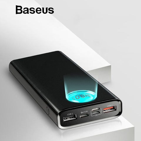 Baseus Quick Charge QC3.0 Power Bank 20000mAh Type C PD Fast Charging Powerbank Visible Real-time Status External Battery Pack - BuyShipSave