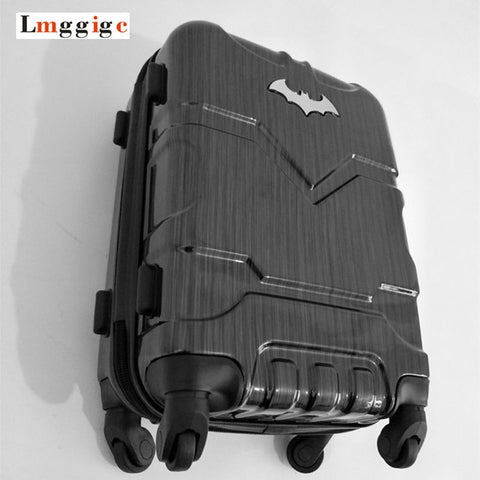 "Batman Luggage bag ,Rolling Wheels Suitcase with Lock, Men's High-capacity Plastic hardshell Travel Box,20""24""28""inch Carry-Ons - BuyShipSave"