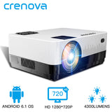 CRENOVA 2019 Newest Led Projector HD 1280*728P Android 6.1 OS 4300 Lumens Home Cinema Movie Projector With WIFI Bluetooth