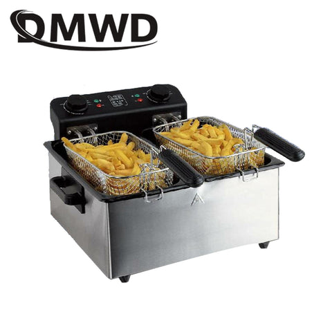 DMWD Commercial 6L twin-cylinder Constant Temperature Electric Deep Fryer stainless steel MINI Smokeless French fries Frying Pan