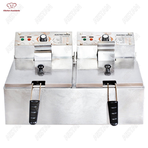 HY81 HY82 Electric Commerical Deep Oil Fryer Stainless Steel Chicken Chips Fish Potato Fried High Power 6 Liters 12 Liters