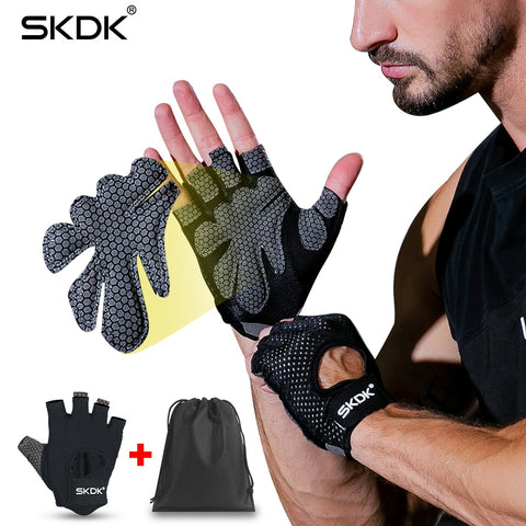 SKDK Neutral Elastic Gym Fitness Gloves Dumbbell Crossfit Weight Lifting Body Building Breathable Sports Gloves Gym Accessories - BuyShipSave