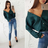 Sexy V-necked One Shoulder long sleeve top Elegant Office Lady Bat Sleeve Button Solid Color Blouse - BuyShipSave